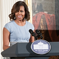 Mrs. Obama speaks in the East Room
