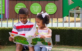 The Literacy Garden guides visitors on a quest for information.